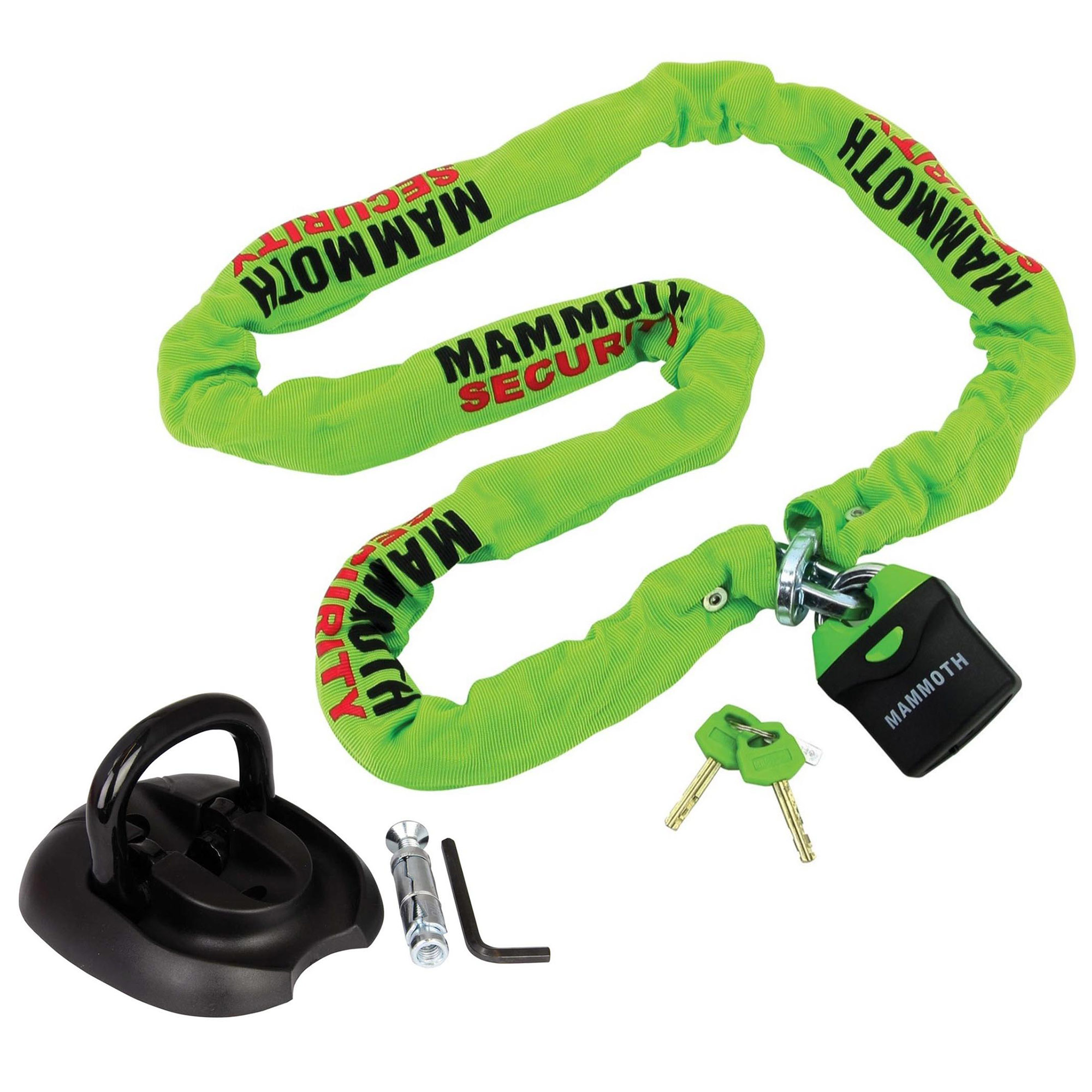 Bike-It Mammoth Motorcycle Security 10mm Square Link 1.8m Steel Chain /& Lock