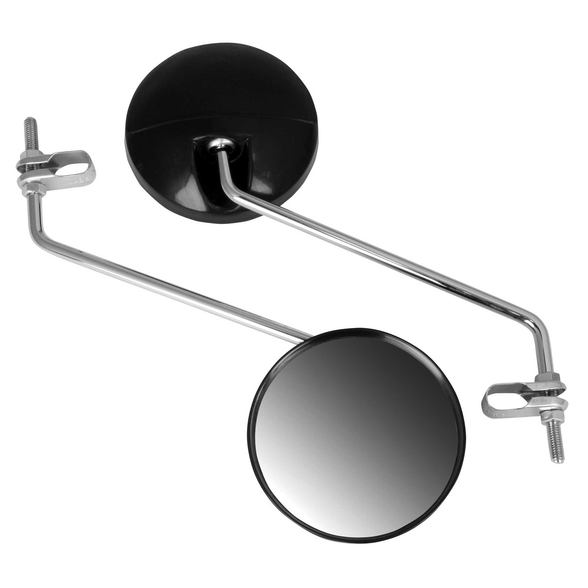 8mm Pair Round Black Scooter Moped Mirrors Universal Fit