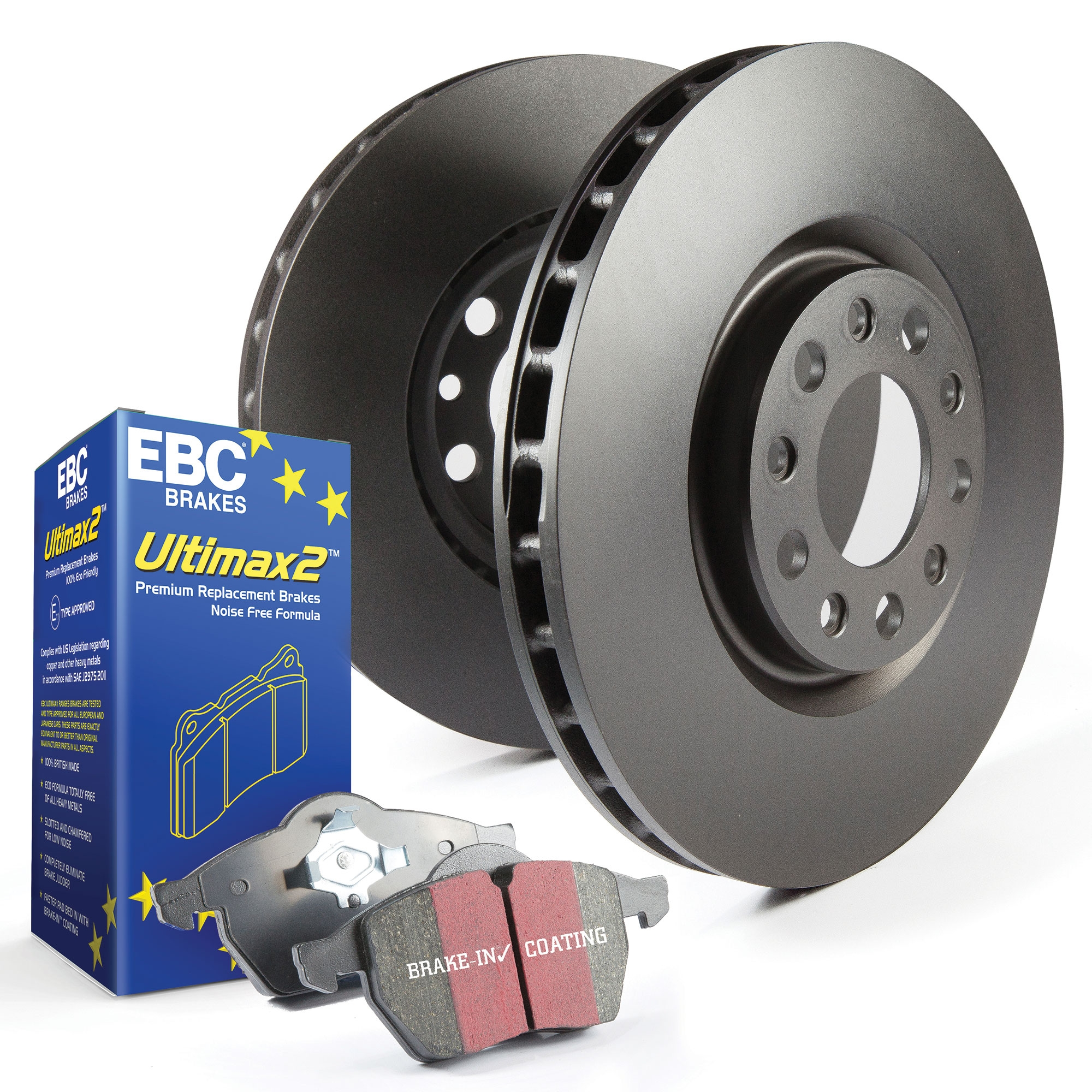 Civic Type R Ep3 Rear Grooved Brake Discs EBC Ultimax Brake Pads