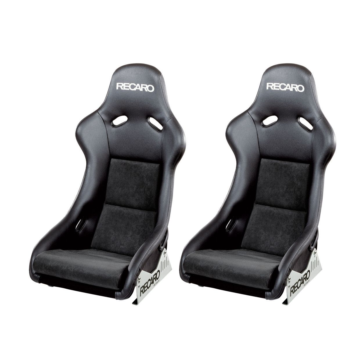 2 X Recaro Pole Position Abe Bucket Seats Ambla Leather Dinamica Suede Black Ebay