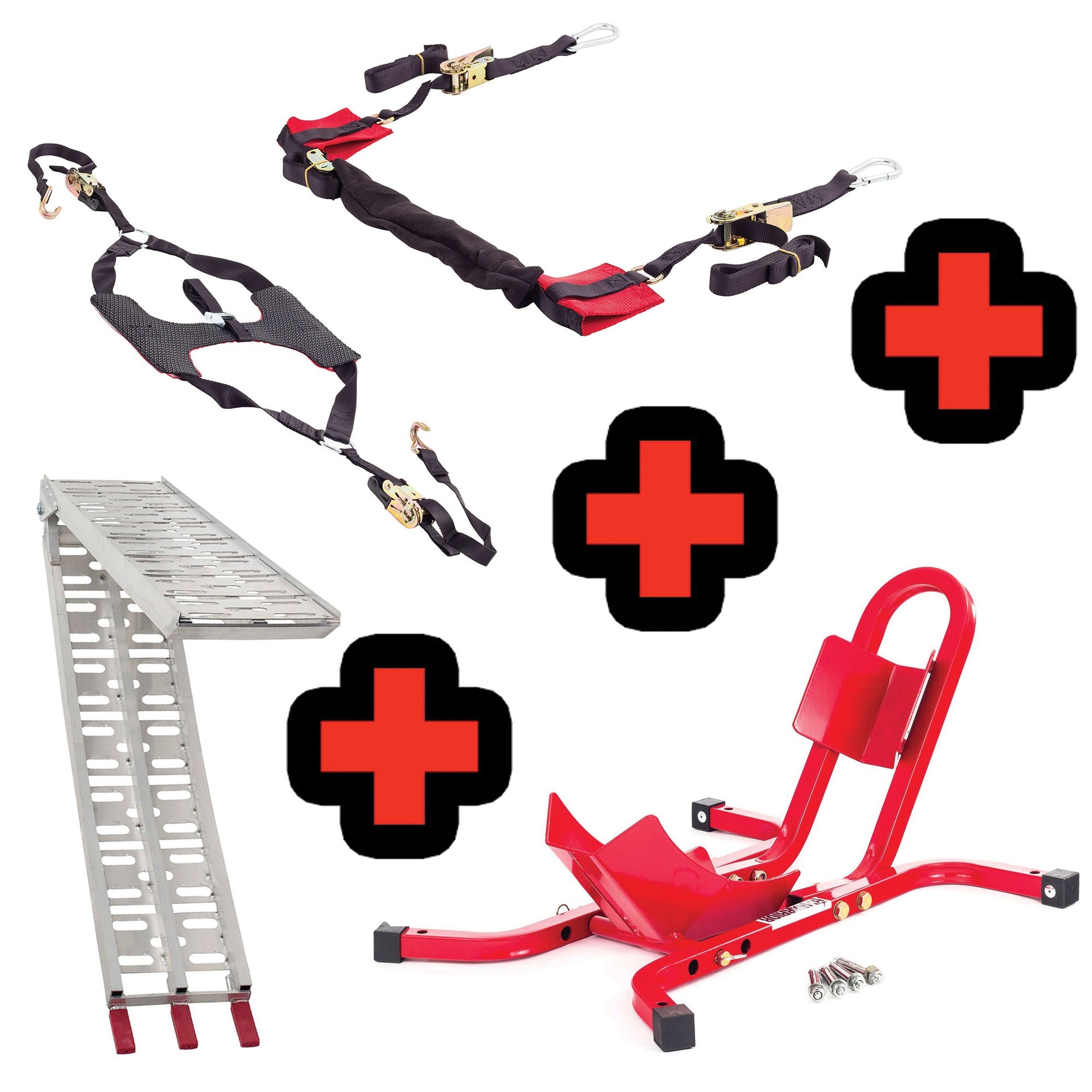 Ratchet Bar Strap Warrior 17-21 Inch Bike Wheel Chock Combo Tyre Down
